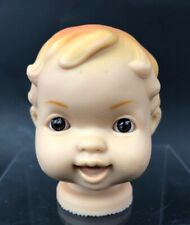 Rubber Vinyl Small Doll Head Vintage Brown Eyes 2 3/4� Molded Hair Open Mouth