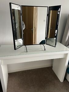 ikea malm dressing table white With Glass Top And Karmsund Black Mirror