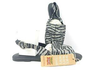 RIVERS Animal Women Shoes Flat Sandals Zebra Black White Stripe Size 36 37 41 43