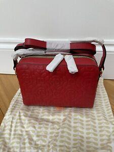 Orla Kiely Lipstick Red Flower Embossed Abby Cross Body Bag BNWOT