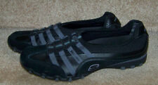 Skechers Womens Black Gray Slip on Stretch Lace Comfort Athletic Shoe Size 10