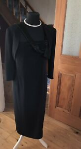 Ispirato Long Black Party Cocktail Dress And Bolero Size 18 Lined Long Or Ankle