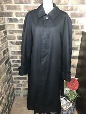 STAFFORD Black Classic Long Trench Coat Mac Outdoor Mens Size 44 Regular