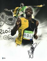 L@@K USAIN BOLT SIGNED 11X14 PHOTO JAMAICA AUTHENTIC AUTOGRAPH BECKETT BAS COA 9