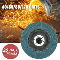 20X 125mm Flap Discs Wheels Grinding Sanding 40/60/80/120 Grit Angle Grinder