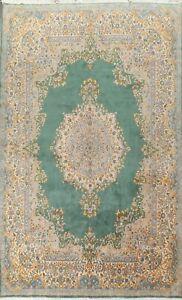 10x14 Vintage Green Kirman Area Rug Hand-knotted Medallion Wool Oriental Carpet
