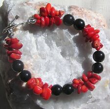 "Crystal Gemstone Bracelet - Black Onyx & Red Coral ""Scarlette Noir"""