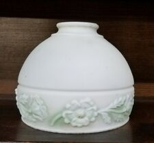 Frosted White Milk Glass Pendant Lamp Shade Raised Painted Floral Spray 2""