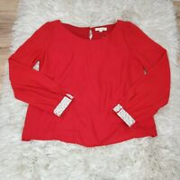 Women's Blouse Color Red top long sleeve embellished Size Large