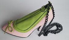 Unique Fashion High Heeled Shoe Shape Purse Handbag Bag Pink Green Chain Strap