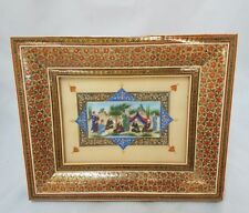 Vintage PERSIAN Khatam MARQUETRY WOOD Inlaid Frame PAINTING