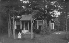 Indian River Michigan Man and Girl in Front of Cottage House Antique Real Photo