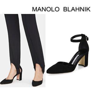 Manolo Blahnik Lausam Pointed Toe D'Orsay Heel Pump Ankle Strap Black Suede 36
