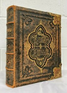 Antique Leather Bound The Holy Bible A Russell & co Illustrated 1890 Family