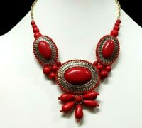 Egyptian Revival Style Chunky Faux Red Coral Turquoise Glass Bib Necklace