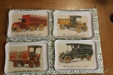 "Vintage Mack Trucks Plastic Tray. Antique Cars.Set of 6. 81/2""x6"""