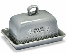 GREY Purity Hearts BUTTER Storage DISH with LID KITCHEN Serving