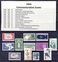 1963 Year Commemorative Postage Stamp Full Year Set Mint Never Hinged