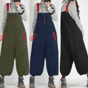 Womens Girls Dungarees Overalls Casual Loose Romper Baggy Playsuits Jumpsuits