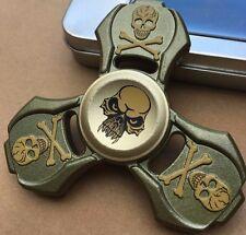 skull sinc metal triple finger hand spinner fidget spinning toy steel bearing