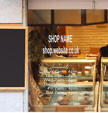 OPENING HOURS TIMES SHOP NAME WEBSITE Window/Wall Sign Vinyl Decal Sticker