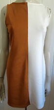 Mossman elegant tan & cream short stretch dress size 14 (US 10)