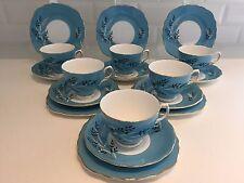 COLCLOUGH Vintage English Bone China 18-Piece TEA SET 6 Trios TEAL BLUE