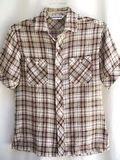 VTG..CHEMISE..KENNINGTON..BROWN..SHEER..LIGHT..PLAID..SHIRT..sz MED