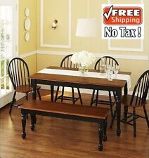 Dining Room Sets 6 Piece Breakfast Nook Kitchen Table Set Bench + 4 Chairs Oak