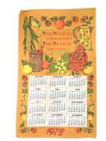 "VINTAGE 1978 Linen ""Thank You for the Food"" Calendar Dish Tea Towel 26"" x 16"""