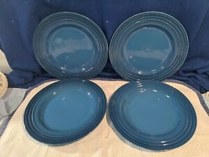 "LE CREUSET~Marseille~Dinner Plates~12""~Bright Blue~NICE!"