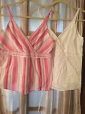 Lot of 2 Duo Maternity Top Medium sleeveless v neck white &  Pink striped   #5/E
