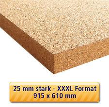 25 mm Kork Platte 915 x 610 mm Pinnwand Wand Decke Boden Dämmung Korkplatte