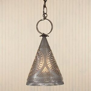 Madison Witch Hat Hanging Light in Heritage Gray Tin