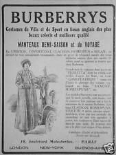 PUBLICITÉ 1916 BURBERRY MANTEAU DEMI-SAISON COSTUMES DE VILLE ET DE SPORT VOYAGE