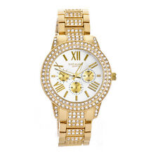 Lady's Women's Fashion Bling Bling Iced  Gold Plated Metal Watches WM 8017 G