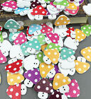 50/100PCs Craft 2 Hole Mixed Mushroom Wooden Buttons Sewing Scrapbook 23mm