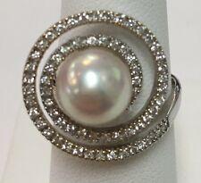 Designer Mastoloni 18k WG Cultured Pearl 9mm w/ Diamonds .36ct Ring Size 5