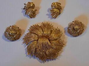 Vintage Monet Signed Gold Tone Cordelia Flower Brooch & Clip Earrings Set