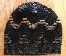 Missoni Foulard Knit Wool Blend Zig-Zag Hat Beanie. Multi/Black. Made in Italy.