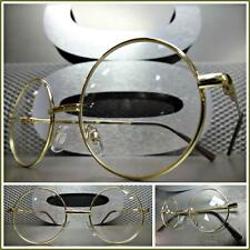 Men's VINTAGE RETRO Style Clear Lens EYE GLASSES Small Round Gold Fashion Frame