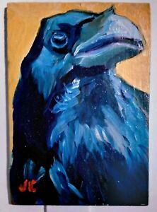 ACEO Original oil painting RAVEN blue bird impressionistic animal art signed ATC