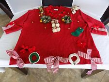 Ugly Christmas Sweater Red with Gold Metallic CST Studio Handmade womans XLarge