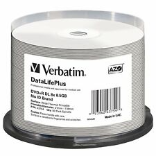 Verbatim DVD+R DL 8.5GB 8X DataLifePlus White Thermal Printable 50-Pack Spindle