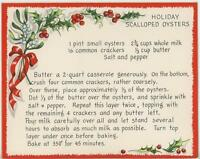 VINTAGE CHRISTMAS SCALLOPED OYSTER RECIPE 1 VICTORIAN VILLAGE HOUSES SNOW CARD