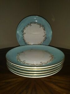 Lifetime China Co plates and small bowls gold crown/wheat Homer Laughlin