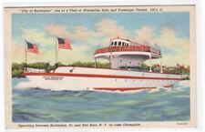 Streamliner Car Ferry Boat City of Burlington Lake Champlain Vermont postcard