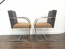 Pair Of Cy Mann Flatbar Chrome Brno Style Chairs Mies Van Der Rohe Knoll
