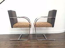 Paar CY Mann Flatbar Chrom Brno Stil Stühle Mies van der Rohe Knoll
