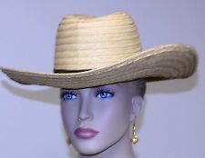 unbranded Men's natural Straw Hat Natural size 7 3/8 front leather sweat band